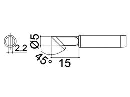 900M-T-KZ Knife Soldering Iron Tip 2.2mm/45° x 15mm