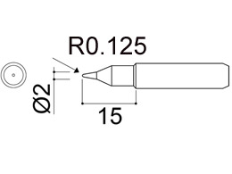 900M-T-S4 Conical Soldering Iron Tip R0.125 x 15mm